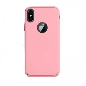 Iphone X Dot Çizgili Kapak Pembe